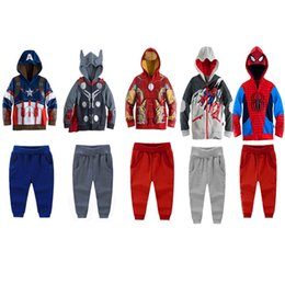 Wholesale Burgundy Hoodie Men - 2016 New Autumn Retail boys kids Avengers iron man captain america hoodies jackets Kids Clothing baby for autumn spring Clothing Sets