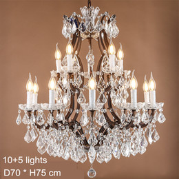 Wholesale Maria Crystal Chandelier - Maria Theresa Crystal Chandelier Lamps E14 E12 Led Candela Bulb Lights Large Crystal Lamp Rustic Loft Industrial Lighting 120V 240V