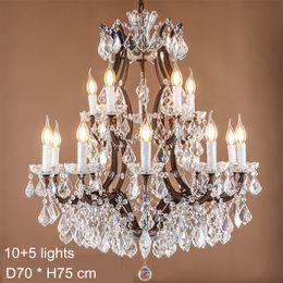 Wholesale led maria theresa chandelier - Maria Theresa Crystal Chandelier Lamps E14 E12 Led Candela Bulb Lights Large Crystal Lamp Rustic Loft Industrial Lighting 120V 240V
