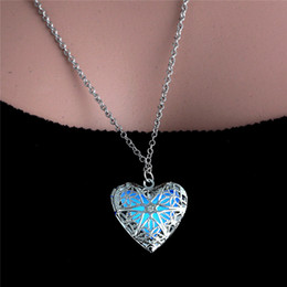 Wholesale gift tin can - Popular jewelry round hollow 925 silver can be opened luminous luminous pendant necklace wholesale