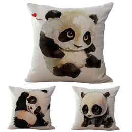 Wholesale Chair Covers Linens - Cute and Lovely Baby Panda Pillow Case Cotton Linen Chair Seat and Waist 45x45cm Pillow Cover Home Textile Living 240453