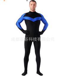 Wholesale Full Latex Hood - Wholesale-high quality Male Hero Lycra Zentai Suits No Hood Skin Tight Leotard Anime show Mens Cosplay Full Bodysuits Halloween Costumes