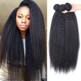 Armadura de pelo virginal rizada mongol 9A 3 paquetes Extensiones de trama doble ásperas italianas gruesas de Yaki pelo humano 300g para mujeres negras desde fabricantes
