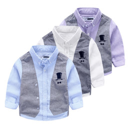 Wholesale Two Color Collar Shirt - Brand quality 2016 Fall Boys clothes England style gentle fake two piece Tall hat long sleeve shirts Handsome shirts boy toddler Kids Tops