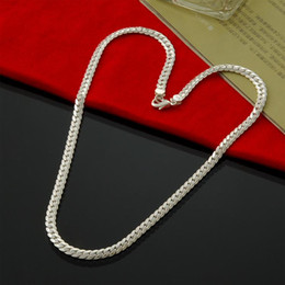 platin überzogene armband smaragde Rabatt Fabrik Verkauf 925 Sterling Silber 5mm Cowboy Halskette Herrenmode Silber Halskette