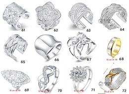 Wholesale Heart Ring Charm Wholesale - R2 Hot Selling High Quality 925 silver jewelry Ring 50pcs lot Charming Women girls rings Multi Styles Rings Mix size & mix order