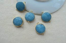 Wholesale Blue Agate Druzy Beads - 10 pcs ,Nature Blue Quartz Agate stone Druzy Connector beads,Gold plated Beads for DIY Making Bracelet necklace Jewelry BD76