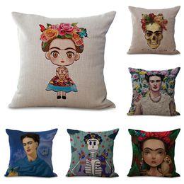 Wholesale Cartoon Car Case - Cartoon Frida Kahlo Polyester Cushion Cover Self-portrait Pillow Case Home Decorative Pillows Cover for Sofa Car Cojines 45*45cm