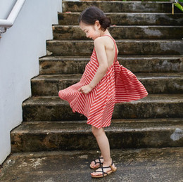 Wholesale Freeze Clothing - Beach Dress Girl's Dresses Casual Elegant Braces Skirts Baby Kids Clothing Girl Striped Dressy Red Stripe Tops Frozen Dress Fairy Love 9298