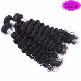 Wholesale Cheap Unprocessed Deep Wave Hair - 100% Peruvian Human Hair Weaves Unprocessed Hair Extensions Deep Wave Natural Black 12-30inch Hair Weft Wavy Cheap Peruvian Hair Bundles