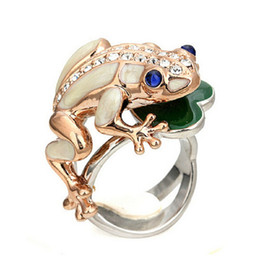 Wholesale Gold Frog Rings - High Quality 18k Gold GP Austrian Crystal Frog Big Rings For Women And Man