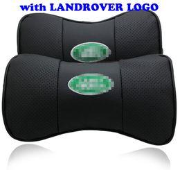 Wholesale headrest covers - 2 X Genuine Leather Car Headrest Pillow Neck Rest Pillow Seat Cushion Covers for Land Rover Car Neck Pillow Black Grey Beige