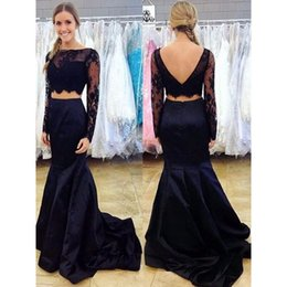 Wholesale Prom Trends - Crop Top Two Piece Mermaid Prom Dresses Black Lace Illusion Long Sleeve Tulle Sexy New Trend 2016 Factory Custom Made