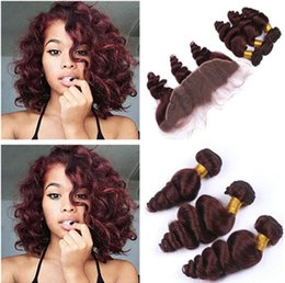 Wholesale 99j Hair Color Weave - Loose Wave #99J Wine Red Brazilian Human Hair Weaves with Lace Frontal 4Pcs Lot Virgin Burgundy Hair 3Bundles with 13x4 Full Lace Frontal