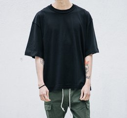 Wholesale Blank White T Shirts - Blank oversized t shirt fashion kanye west solid loose t shirts hip hop streetwear mens half sleeve summer clothing