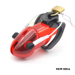 Wholesale Electro Chastity - Male Polycarbonate Electro Red Chastity Cage Device Locking New Arrival A178-4