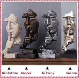 Statues d'imitation en Ligne-2018 nouveauté fait main statues en résine abstraite sculpture hommes en sculpture silencieuse sculpté maison / bureau décorations cadeaux d'anniversaire