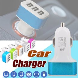 Wholesale Mini Usb Car Charger Adapter - Car Charger Mini Traver Adapter Universal Car Plug Triple 3 USB Ports USB Charger For iPhone X 8 iPad iPod Samsung Note 8 S8 Plus S7 S6 Edge