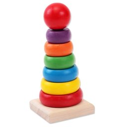Wholesale Wooden Assembly Toys - DIY small wooden Rainbow Tower, assembly type. Infant children's educational toys