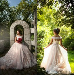 Wholesale Cheap Beach Balls - 2017 Lace Cheap Wedding Dresses Ball Gown Appliques Illusion Wedding Gowns Dress Bateau Fat Bride A Line