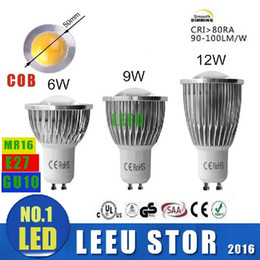 Wholesale E14 Led Cob Spot - x6pcs Factory SALE LED COB Spot Light MR16 GU5.3 GU10 B22 E14 E27 Dimmable 6W 9W 12W AC 110V -240V LED Spotlights Led Lamp Spotlight bulbs