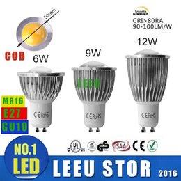 Wholesale 6w Cob Spot Light - x6pcs Factory SALE LED COB Spot Light MR16 GU5.3 GU10 B22 E14 E27 Dimmable 6W 9W 12W AC 110V -240V LED Spotlights Led Lamp Spotlight bulbs
