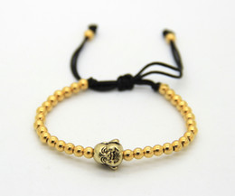 Wholesale Indian Weave Wholesale Jewelry - 2016 4mm Copper Beads weaving Gold and Silver Color Laughing Buddha Head Jewelry Braiding Macrame Bracelets