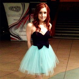 Wholesale Cheap Mint Short Dress - Cute Petite Mint Black Homecoming Dresses Sweetheart Satin Tulle Backless Little Mini Party Dresses 2017 Cheap Short Prom Dresses With Bow