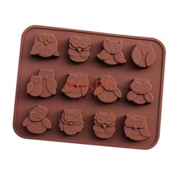 Wholesale Owl Silicone Mold - Wholesale- DIY tools silicone chocolate mold with 12 holes owl FDA quality animal mold CDSM-286