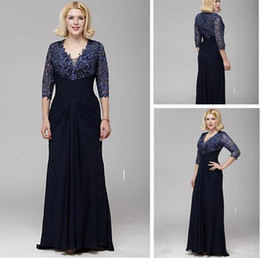 Wholesale custom drills - Hot Drilling Sheath V-neck A-line Lace and Chiffon Mother of the Bride Dress 3 4 Sleeve Floor Length Mother's Dresses
