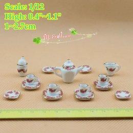 Wholesale Dolls House Tea Set - 1 12 scale Dollhouse Miniatures Porcelain Tea Set Coffee Set Pot Cup Doll House Tableware Kitchen Accessory 17 pieces m p a