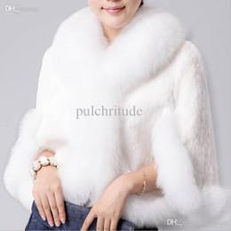 Wholesale Short Hair Mink Fur Coat - Wholesale-Fur Faux Coat Mink Hair Rex Rabbit Hair Cape Jacket Black And White Fur Overcoat Imitation Rabbit Faux Fox Collar