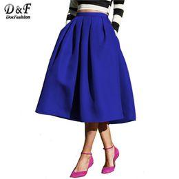 Wholesale Flared Skirt High Waist - Wholesale- Dotfashion Female Fashion 2017 Street Style Women's Solid Casual Flare High Waist Pleated Pockets Vintage Midi Skirt