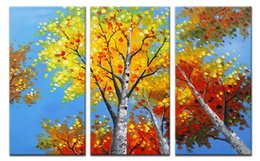 Wholesale Tree Life Abstract Hand - YIJIAHE Landscape Hand-painted Canvas Painting Under the Tree 3 Piece Canvas Art Wall Pictures for Living Room Large Wall Art s6 Framed