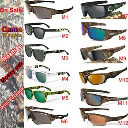 Wholesale Color Pilot - New Camo Brand Designer Sunglasses Mossyoak Realtree sunglasses Eyewear Sun glass frame sunglasses 12 models with zipper case packages 1pcs
