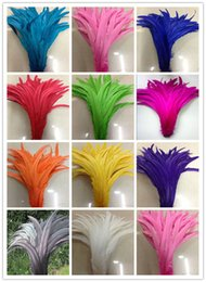 Wholesale Yellow Rooster Feathers - New 100pcs lot Rooster tail feather DIY feather clothing accessories jewelry accessories   wedding supplies   performance necessary 30-35cm