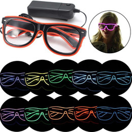 Wholesale Cold Light El - DIY LED Light Glasses Plastic EL Cold Lights Eyeglass Glowing In The Dark Spectacles Factory Direct Sale 18yy B
