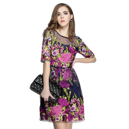 Wholesale Amazing Dress S - High End Top Quality Amazing Embroidery Flare Lace Mesh Patchwork Waisted Fast Fashion Summer Women Dresses