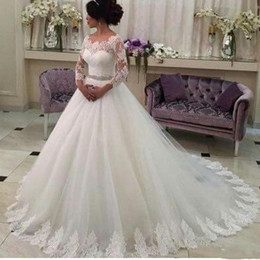Wholesale Ruched Trim - 2016 Lace Ball Gown Wedding Dresses Bridal Gowns Boat Neck 3 4 Long Sleeves Beaded Belt Lace Trimmed Tulle Chapel Train Bridal Gowns