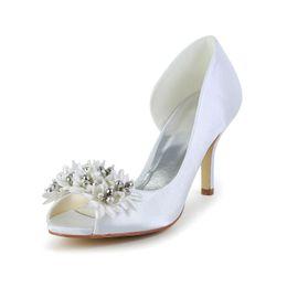 Wholesale Elegant Sandals Shoes For Wedding - 2016 Ivory Color Peep Toe Elegant Style Bridal Shoes Wedding Dress Shoes Handmade Shoes for Wedding From Size35-Size 42 Free Shipping
