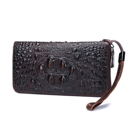 Wholesale Phone Holder Head - new Hot Sale Fashion leather wallet, business head leather hand bag, long style large capacity wallet, multi-card crocodile pattern wallet