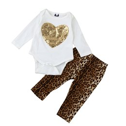Wholesale Leopard Pants For Girls - Wholesale 2017 Kids Girls Leopard Clothing Baby Two Pieces Sets Children Autumn Suits Gold Sweet Romper And Pants For 70-100cm