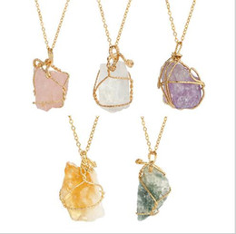 Wholesale wire wrapped crystal necklace - JLN Irregular Druzy Crystal Quartz Pendant With Metal Wire Wrapped Rough Stone Multi Color Pendant Necklace Gift For Women