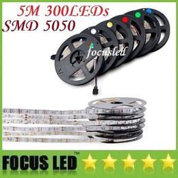 Wholesale Wholesale Led Tape Lights - DHL Free Shipping 5050 Led Strips Light 60LEDs m 5M 300LEDs 12V Led Rope Tape Lights Waterproof For Christmas Lighting