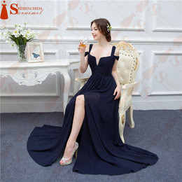 Wholesale Long Bridesmaid Dresses Slit - Bariano Ocean Navy Blue Color Chiffon Long Events Prom Dresses V neck Sexy Side Slit Cap Sleeve Prom Dresses Evening Dress