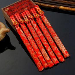 Wholesale Dragon Phoenix Wedding - 50 pairs  lot wedding chopsticks bamboo chopstick wedding favors silk pouches dragon phoenix chopsticks