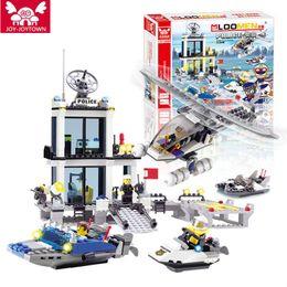 Wholesale Toy Police Stations - JOY-JOYTOWN New Police Station Blocks Bricks Building Blocks Helicopter Speedboat Educational Lepine Toys For Children B54