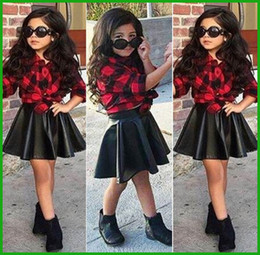 Wholesale Skirts Sets Kids Autumn - Spring 2016 Fashion 2Pcs Set Girls Kids Princess Plaid Tops Shirt +Leather Skirt Summer Outfits Clothes fashion style hot selling TOP suits
