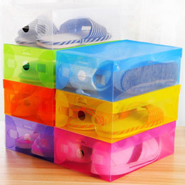 Wholesale Storage Box Boots Plastic - DIY Folding Shoebox Shoes Storage Boxes Transparent Boots Organizer Plastic Transparent Toughness Shoe Box Container free shipping