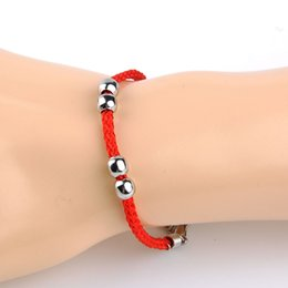 Wholesale Fish Red String Bracelet Wholesale - Wholesale- four beads charm bracelets National wind red black String 2015 New lovers bracelet fashion